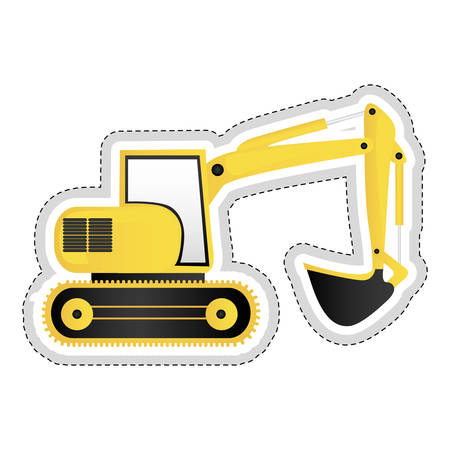 earth mover: backhoe machine icon image vector illustration design