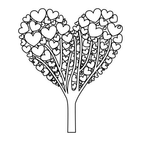 love tree: cartoon heart in tree shape icon image vector illustration design