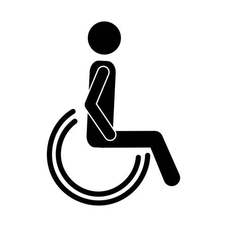 silhouette of disabled icon over white background. vector illustration