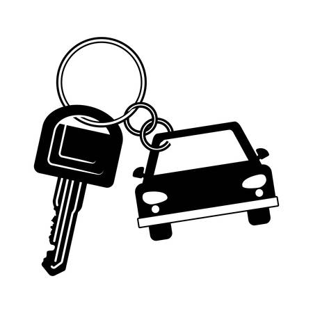 keyword: key of a car vehicle icon over white background. vector illustration