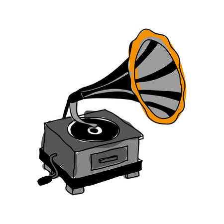 restored: gramophone retro icon image vector illustration design