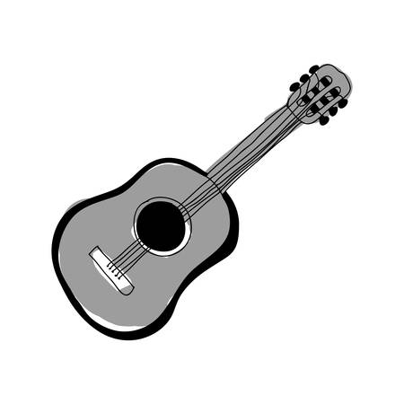 wood staves: acoustic guitar instrument icon image vector illustration design