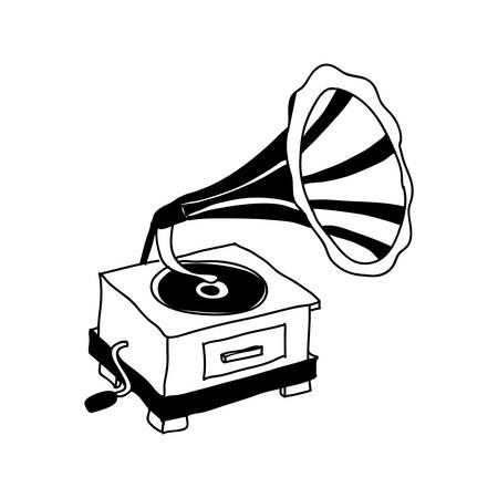 gramophone retro icon image vector illustration design