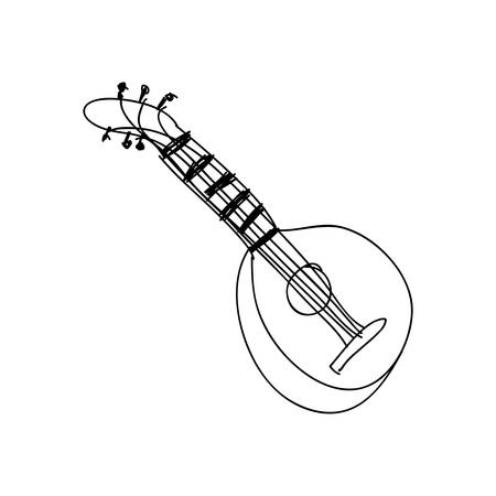 wood staves: mandolin guitar instrument icon image vector illustration design Illustration