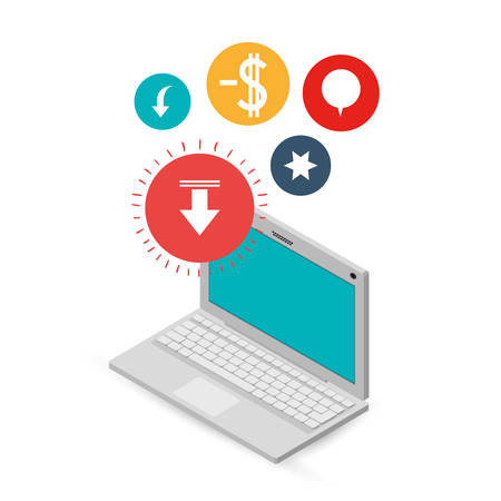 computer with internet related icons image vector illustration design