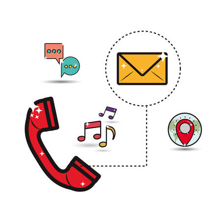 telephone icons: telephone with communication related icons image vector illustration design