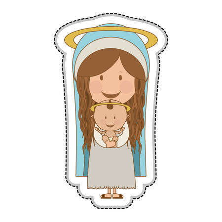holy family: virgin mary holding baby jesus holy family icon image vector illustration design