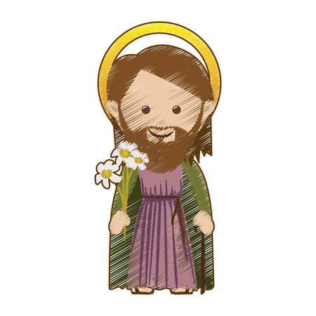 nativety: saint joseph holy family icon image vector illustration design