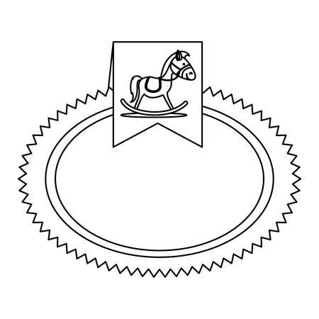 wooden horse: wooden horse icon label image vector illustration design
