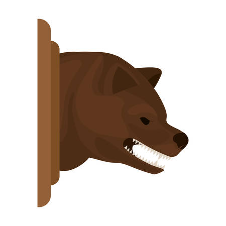growling: color image with decorative bear head growling vector illustration Illustration