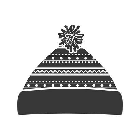 woolen: monochrome silhouette with christmas woolen hat vector illustration