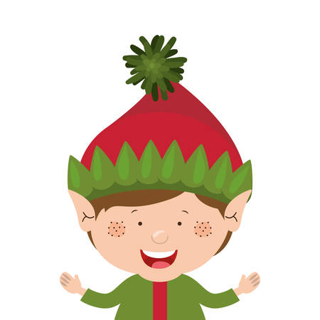 color image with half body christmas gnome boy vector illustration Illustration