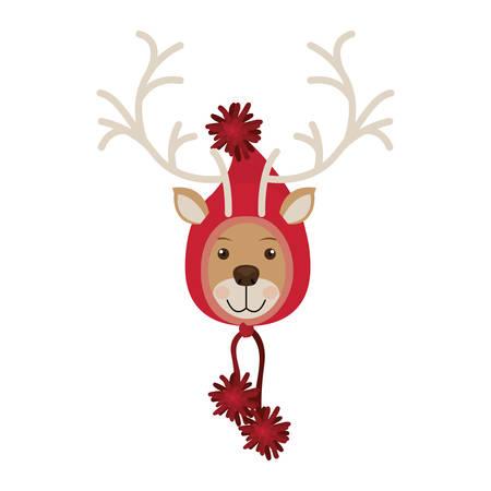 woolen: reindeer head with christmas woolen hat shape hood vector illustration
