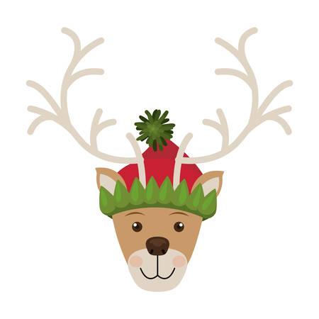 woolen: reindeer head with christmas woolen hat vector illustration