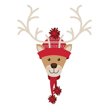 reindeer head with christmas woolen hat red vector illustration