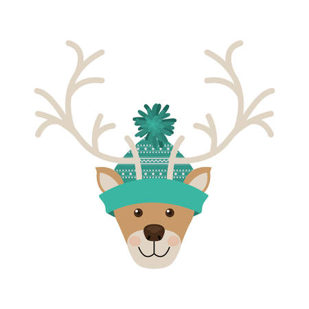 reindeer head with christmas woolen hat aquamarine vector illustration