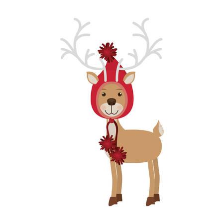 Renne avec chapeau de laine de Noël forme hotte vector illustration Banque d'images - 66476534