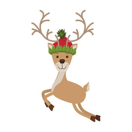 woolen: reindeer jumping with christmas woolen hat vector illustration Illustration