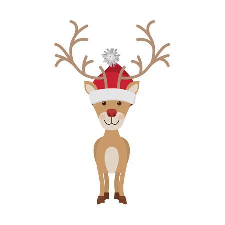 woolen: reindeer front pose with christmas woolen hat vector illustration