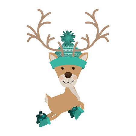 woolen: reindeer jumping with woolen christmas hat aquamarine vector illustration Illustration