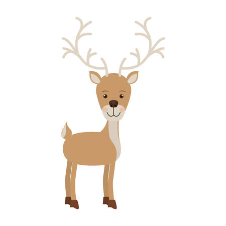 silhouette color with reindeer walk to the right side vector illustration