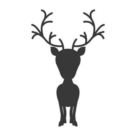 big head: silhouette monochrome with reindeer of big head vector illustration Illustration