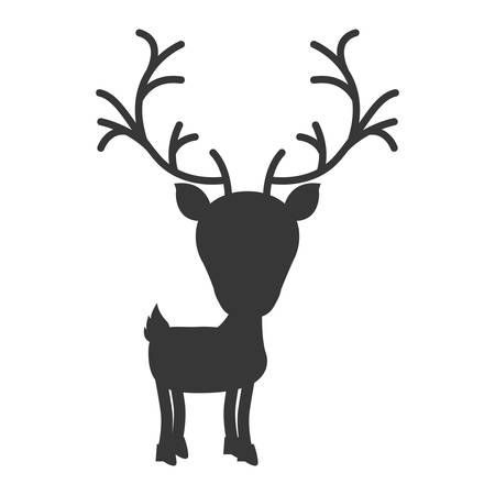 right side: silhouette monochrome with reindeer walk to the right side vector illustration