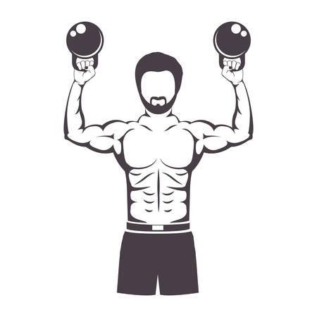 levantando pesas: pesos de elevación del hombre muscular por ilustración vectorial Crossfit Vectores