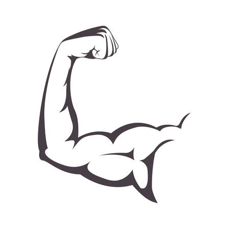 muscular: muscular arm with a clenched fist vector illustration