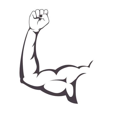 Musculoso Brazo Con Una Ilustración Vectorial Puño Cerrado ...