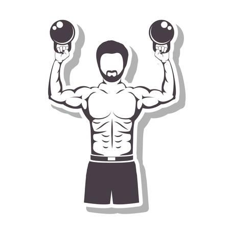 levantando pesas: muscular hombre levantando pesas para Crossfit con la ilustración del vector de la sombra Vectores