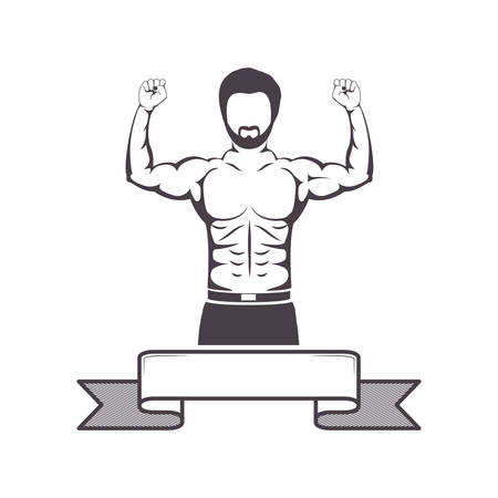 muscle man: silhouette half body muscle man with label vector illustration Illustration