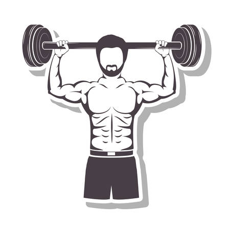 silhouette in relief a muscle man lifting a bar weights vector illustration Illusztráció