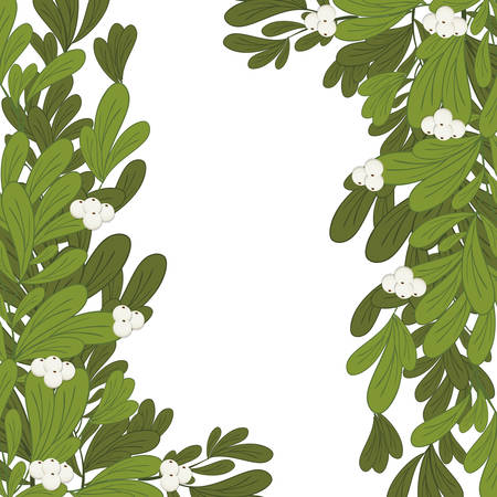 ramification: Christmas frame mistletoe with white flowers vector illustration