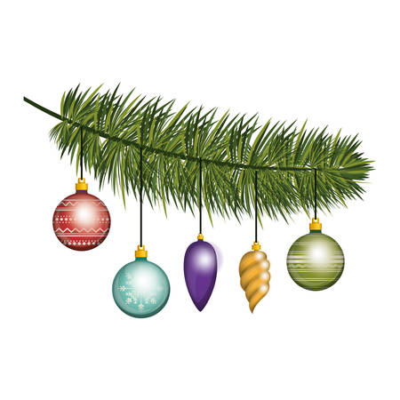 ramification: christmas pine branch with garlands vector illustration