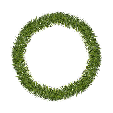pine wreath: silhouette circular of Christmas pine wreath vector illustration
