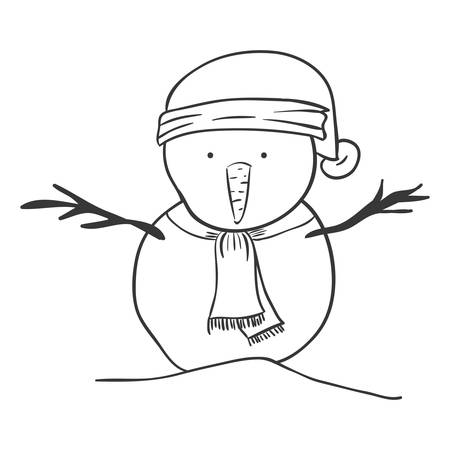silhouette snowman with hat and scarf vector illustration
