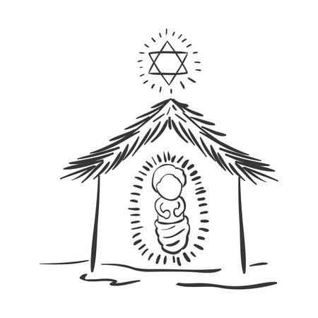 estrella de belen: portal de silueta de la Navidad con la ilustración vectorial bebé Jesús