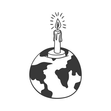 silhouette earth world map with candle vector illustration