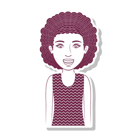 curly hair: silhouette teenager with curly hair vector illustration