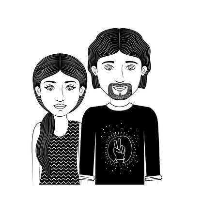 ponytail: silhouette couple teenager with ponytail hair and van dyke beard vector illustration Illustration