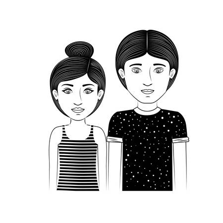 collected: silhouette couple teenager with collected hair and hairstyle vector illustration
