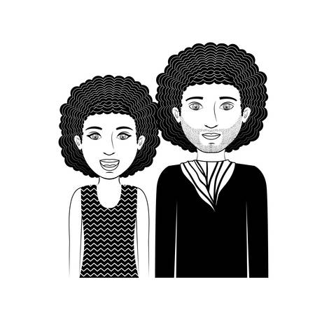 long hair boy: silhouette couple teenager with curly hair vector illustration Illustration