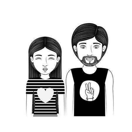 man long hair: silhouette couple teenager with hippie style vector illustration