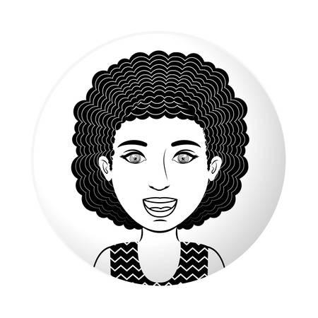 curly hair: sphere half body teen with curly hair vector illustration