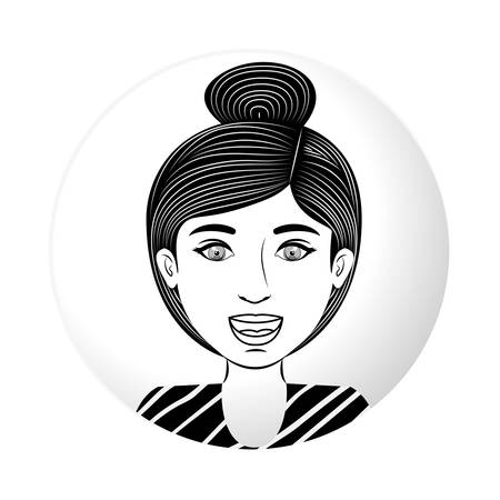collected: sphere half body teen with collected hair vector illustration