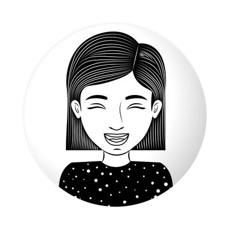 eyesclosed: sphere half body teen smiling with eyesclosed vector illustration