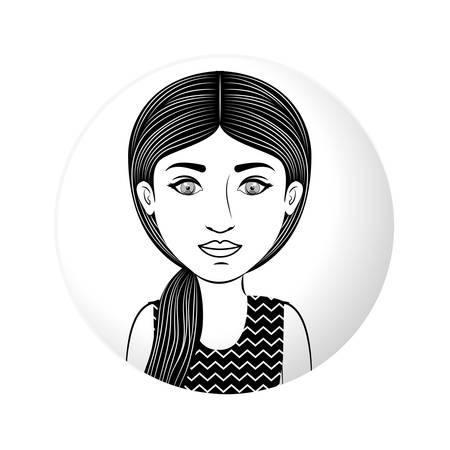 ponytail: sphere half body woman with ponytail hair vector illustration