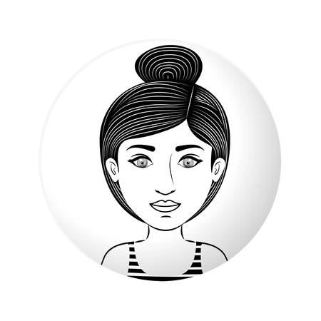 sphere half body woman with collected hair vector illustration Illustration