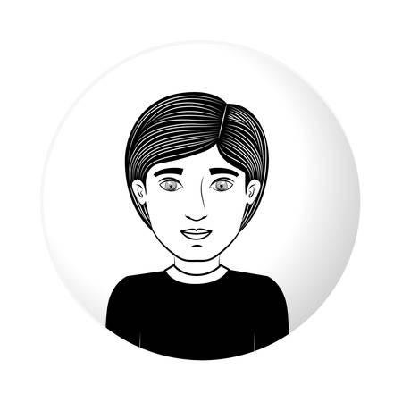 sphere half body guy with black t-shirt vector illustration Illustration